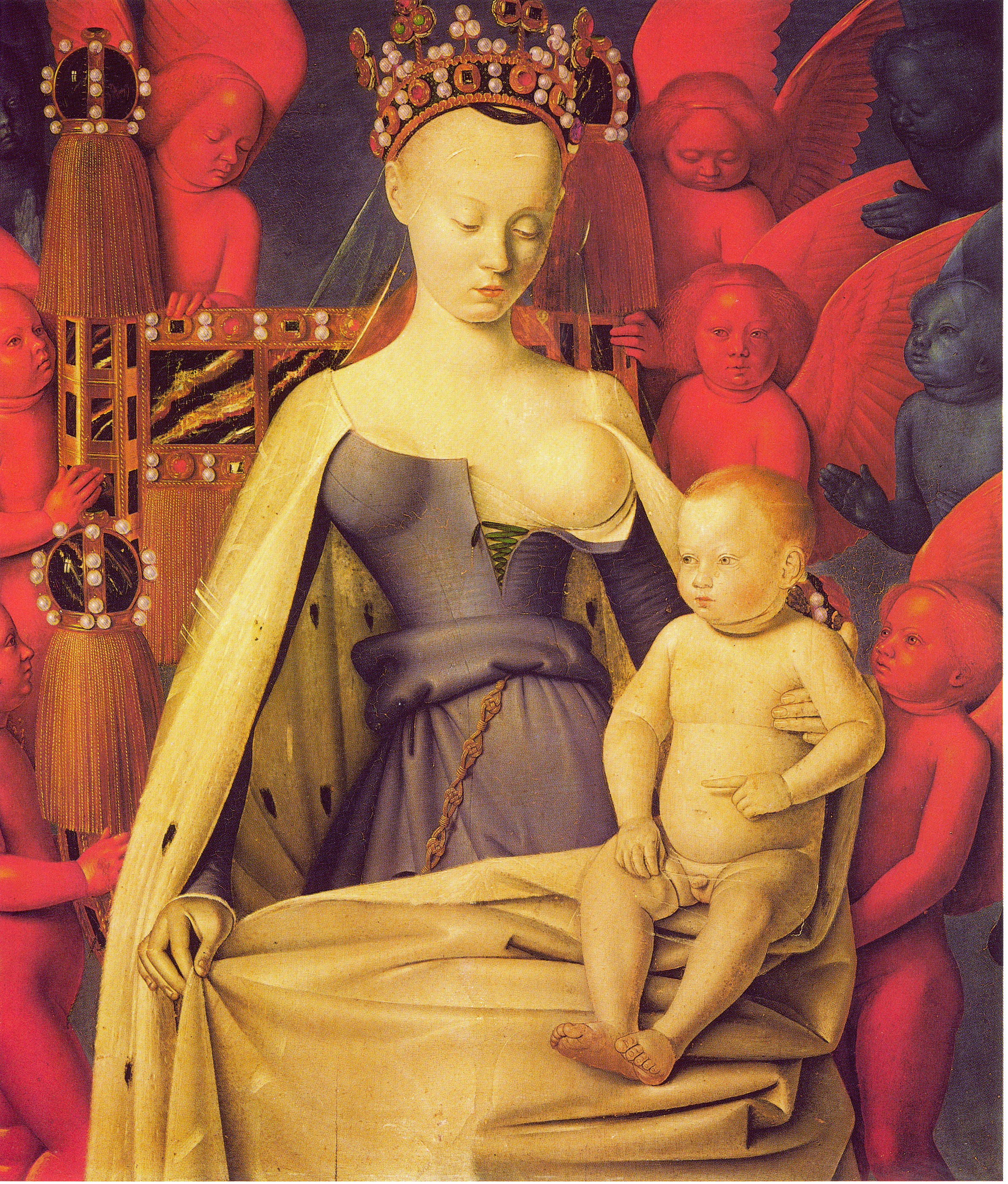 Jean Fouquet - The Virgin surrounded with angels